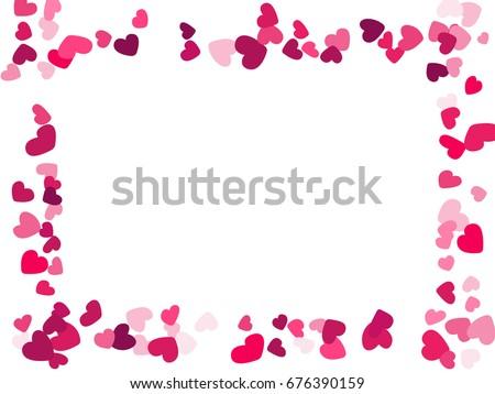 Rectangular Heart Border Vector Valentines Day Frame Confetti Wedding Background