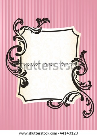 Rectangular romantic French retro frame in pink (EPS10); JPG version also available - stock vector