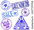 Rectangular, triangular and round sale rubber stamp vectors  - stock photo