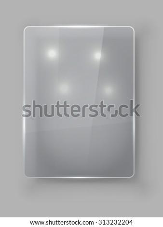 Rectangular vertical protective glass plate vector template. - stock vector