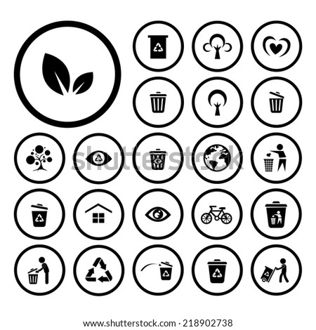 recycle and environment vector icon set  - stock vector