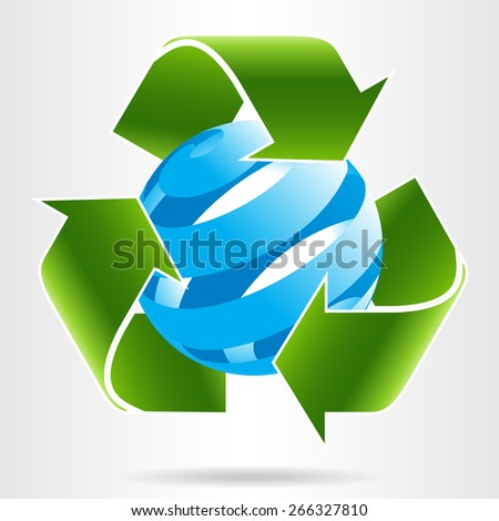 Recycle arrows and abstract blue sphere. Eco concept.