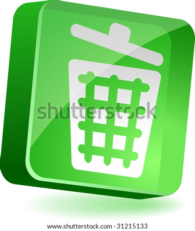 Recycle bin 3d icon. Vector illustration.