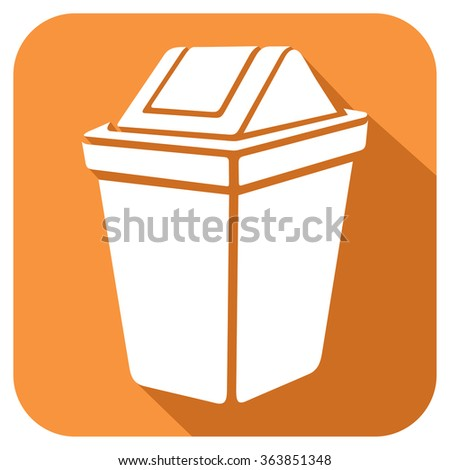 recycle bin flat icon (waste can sign)  - stock vector