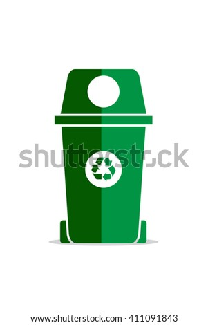 Recycle bin, green vector icon.