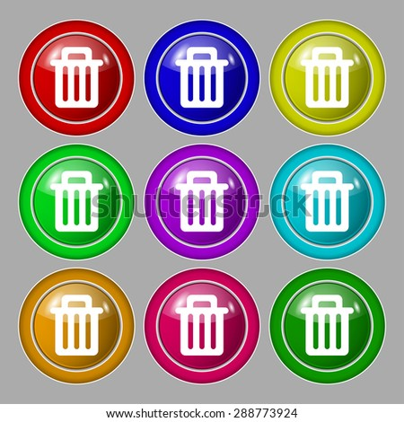 Recycle bin icon sign. symbol on nine round colourful buttons. Vector illustration - stock vector