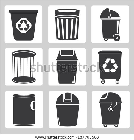 recycle bin icons, garbage, trash icons - stock vector
