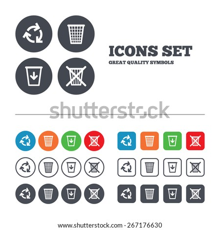 Recycle bin icons. Reuse or reduce symbols. Trash can and recycling signs. Web buttons set. Circles and squares templates. Vector - stock vector