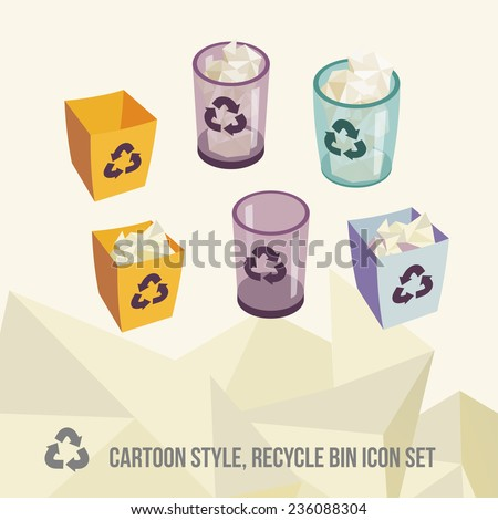 recycle bin icons set. None stroke, cartoon flat style. Vector illustration.  - stock vector
