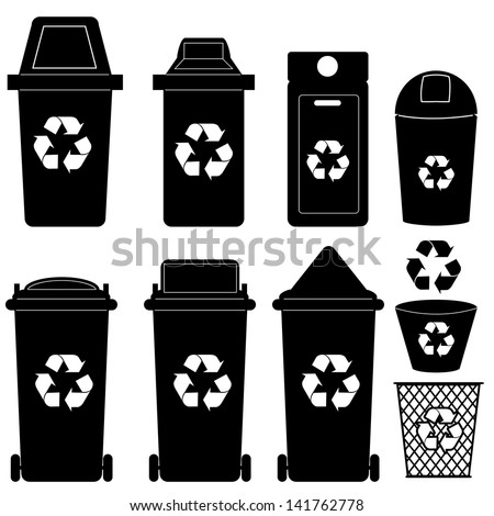 recycle bin  silhouette vector  - stock vector
