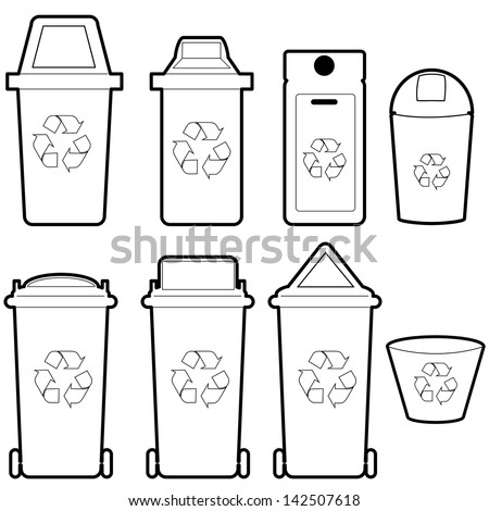 recycle bin   vector - stock vector