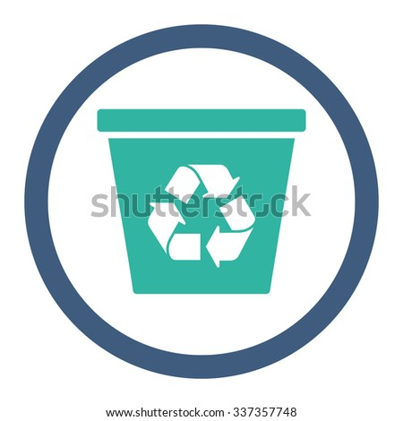 Recycle Bin vector icon. Style is bicolor flat rounded symbol, cobalt and cyan colors, rounded angles, white background.