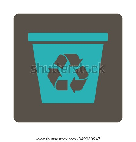Recycle Bin vector icon. Style is flat rounded square button, cyan and grey colors, white background.