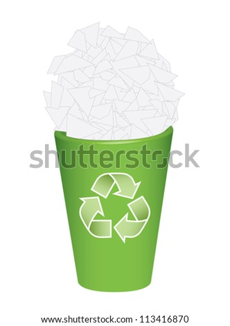 recycle  bin with waste papers vector illustration