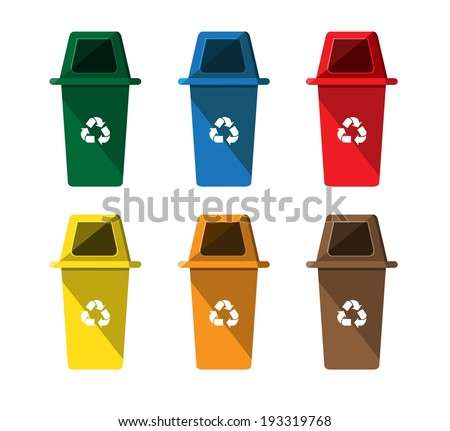 Recycle bins on isolated white background  - stock vector