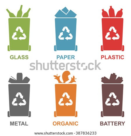 Recycle bins vector illustration on white background.