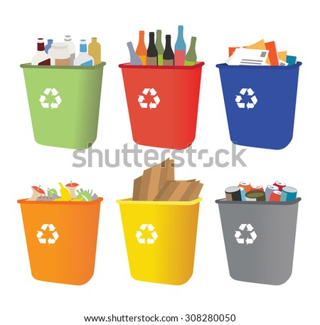 recycle bins with garbage separation - stock vector