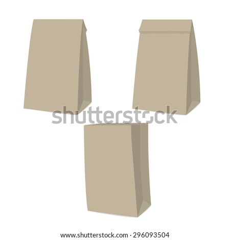 recycle brown bag is on white background. - stock vector