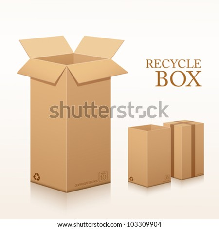 Recycle brown box packaging long size. vector illustration - stock vector