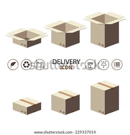Recycle brown box packaging with deliver icon. vector illustrator flat style - stock vector