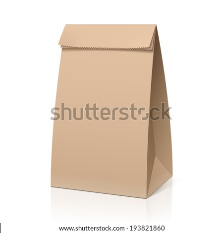 Recycle brown paper bag. Vector. - stock vector