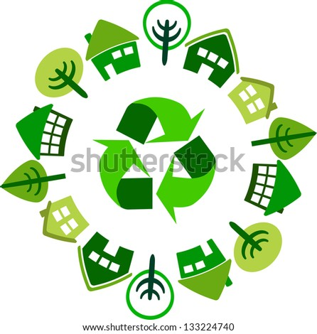 Recycle circle of houses - stock vector