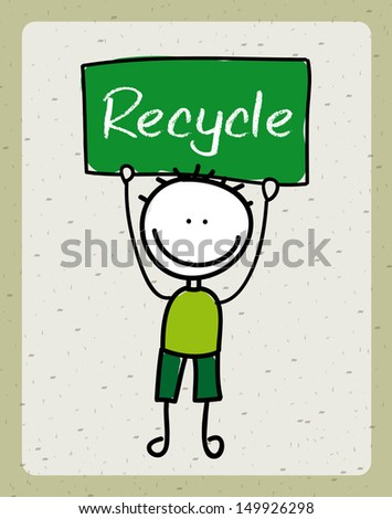 recycle design over beige background vector illustration  - stock vector