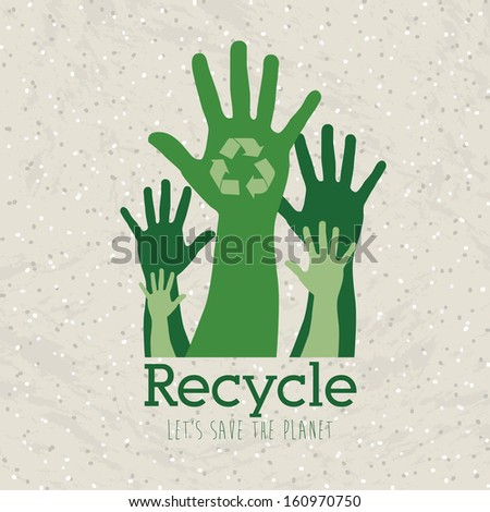 recycle design over pattern background vector illustration - stock vector