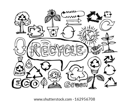 recycle drawing  sketch  Recycle sign - stock vector