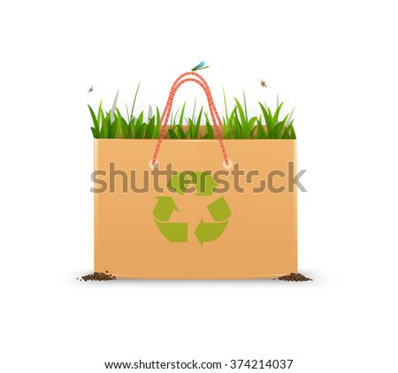 recycle eco bag idea, paper bag full of green grass and recycle sign, eco bag idea isolated, vector,