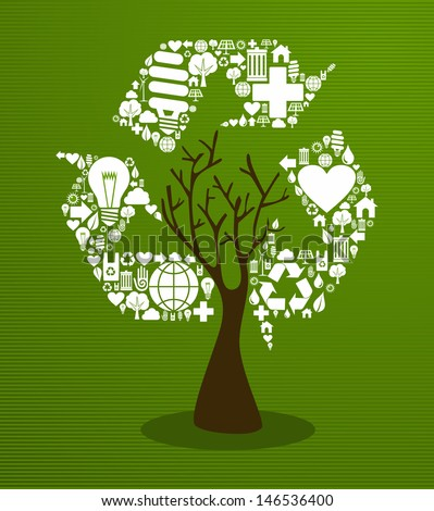 Recycle eco friendly tree set. This illustration is layered for easy manipulation and custom coloring - stock vector