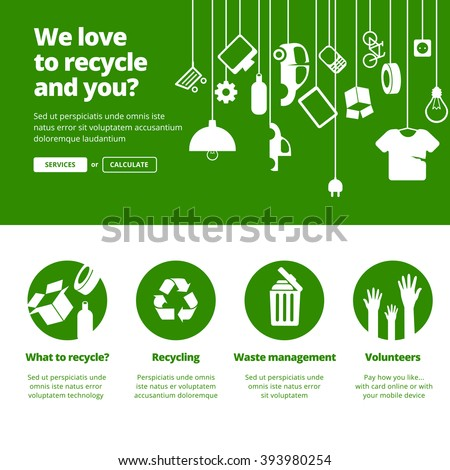 Recycle, Ecology & Waste management banners for one page website design.  - stock vector