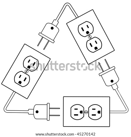 Recycle Electric Energy symbol as electrical outlets plugs and cords. - stock vector