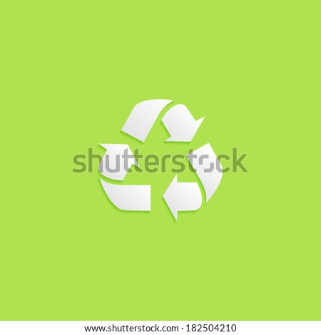 recycle, flat icon isolated on a green background for your design, vector illustration - stock vector