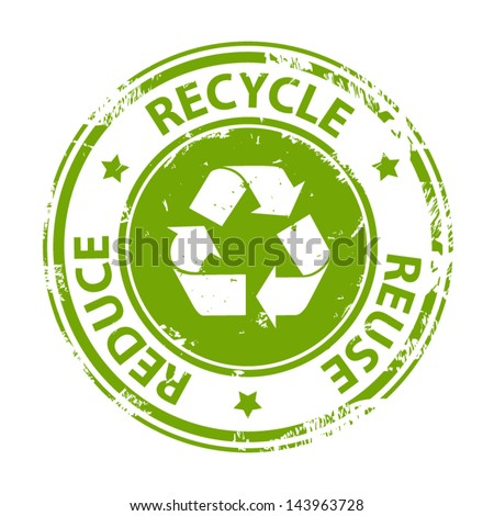 Recycle green emblem or symbol with text recycle reuse reduce rubber stamp icon isolated on white background. Vector - stock vector