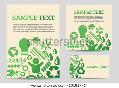 Recycle Green Icons Card Template Set - stock vector