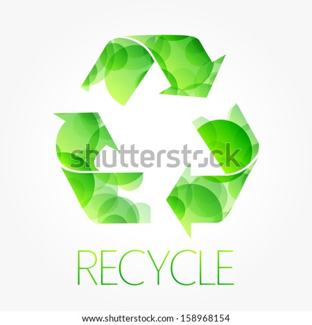 recycle green symbol isolated on white background - stock vector