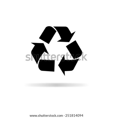 Recycle icon - black vector illustration