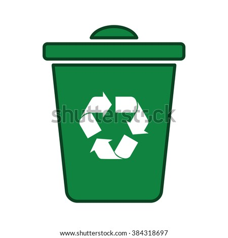 recycle icon green trash bin