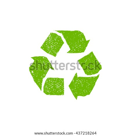 Recycle icon . Grunge recycling sign - stock vector
