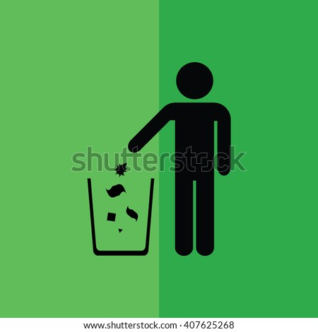 Recycle icon man throwing trash / garbage into trash can vector illustration  - stock vector
