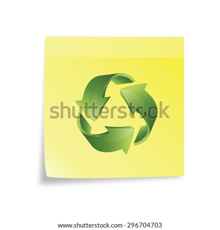 recycle icon on a sticky note