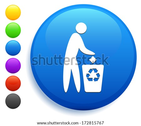 Recycle Icon on Round Button Collection