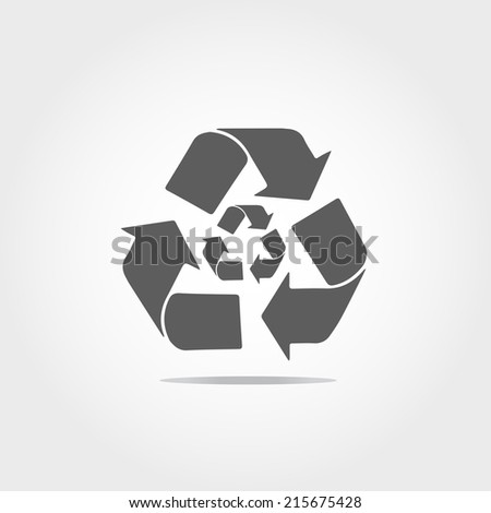 Recycle icon on white background - stock vector