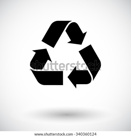 Recycle icon vector. Flat icon isolated on the white background. Vector illustration. - stock vector