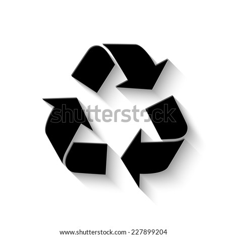 recycle icon - vector illustration with shadow - stock vector