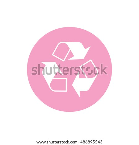 Recycle icon vector. Pink circle. Pink button