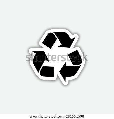 recycle icon - vector sticker - stock vector