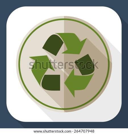 Recycle icon with long shadow