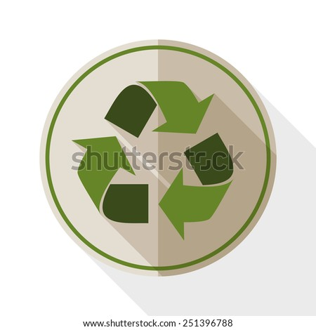 Recycle icon with long shadow on white background